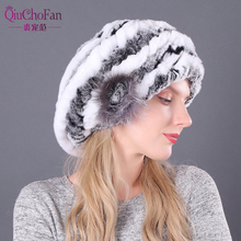 New Lovely Lady Beret Caps Knitted Real Rex Rabbit Fur Beanies Hat Women Winter Hats 100% Cap