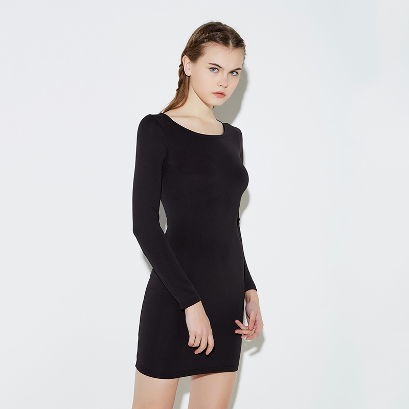 HDY Haoduoyi Autumn Women Bodycon Dress Solid Black Long Sleeve Zipper Dresses Round Collar Backless Party Short Sexy Vestidos in Dresses from Women 39 s Clothing