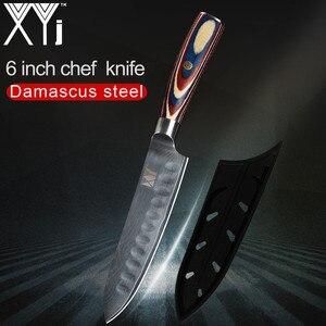 """Image 1 - XYj pojedynczy nóż damasceński 3 """"4"""" 5 """"6"""" calowy VG10 Damascus Steel noże kuchenne owoce warzywa Damascus wzór nóż kuchenny"""