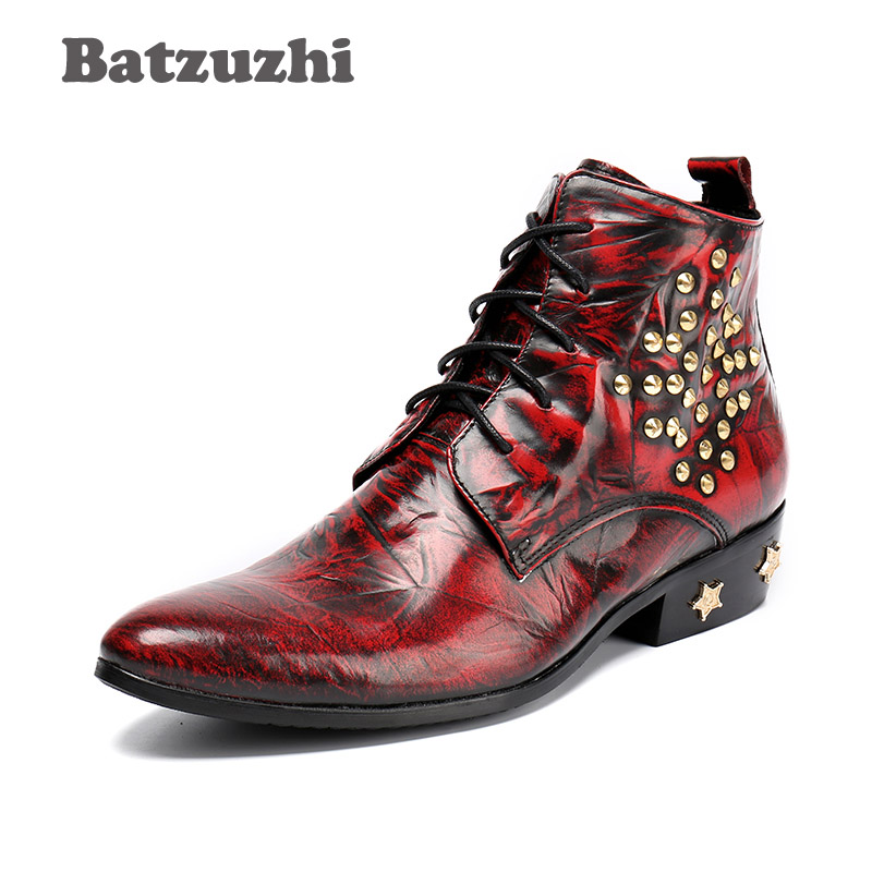 Batzuzhi Autumn Winter Men Boots Warm Fashion Pointed Toe Leather Boots Men Wine Red Heels with Stars  Zapatos Hombre, EU38-46 Batzuzhi Autumn Winter Men Boots Warm Fashion Pointed Toe Leather Boots Men Wine Red Heels with Stars  Zapatos Hombre, EU38-46