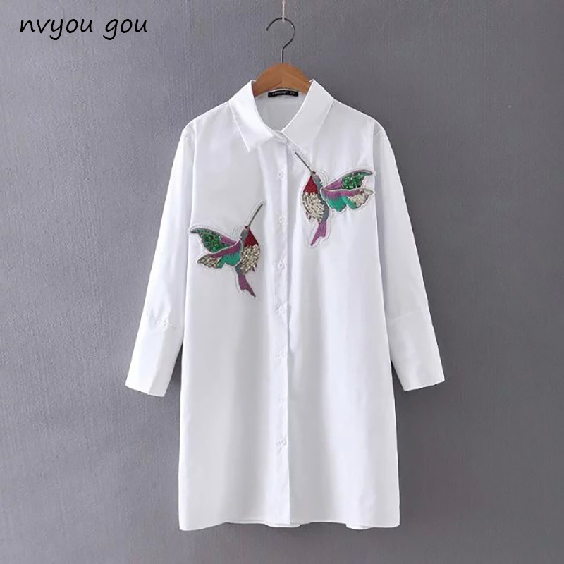 nvyou gou 2018 Women Bird Embroidered White Long sleeve   Blouse     Shirts   Turn Down Collar Spring Fall New Fashion Office Female Top