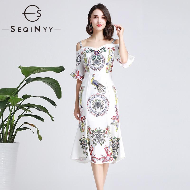 SEQINYY White Dress 2019 Summer New Fashion Design Short Sleeve Strapless Peacock Flowers Print Luxury Crystal