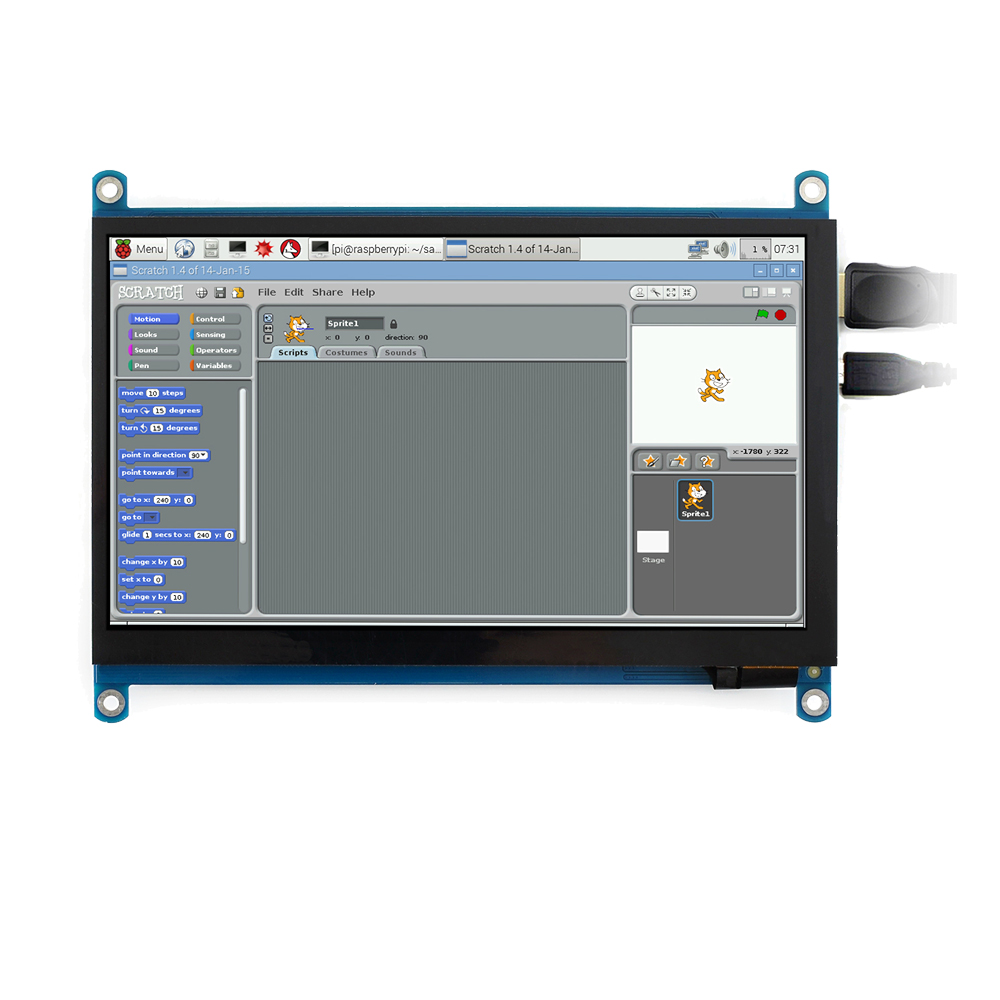 Waveshare 7 Inch HDMI LCD (H) Computer Monitor 1024*600 IPS Capacitive Touch Screen Supports Raspberry Pi Jetson Nano Win10  Etc