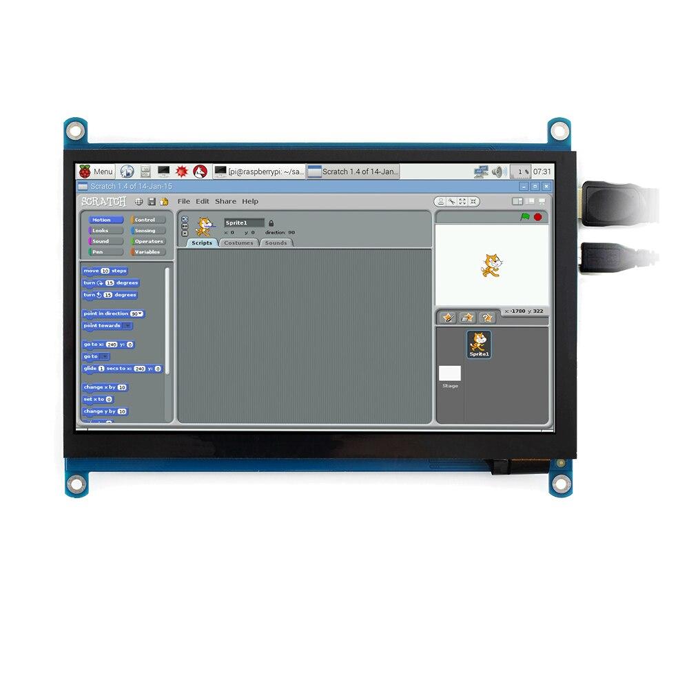 Waveshare 7 pouces HDMI LCD (H) moniteur d'ordinateur 1024*600 IPS écran tactile capacitif prend en charge Raspberry Pi Jetson Nano Win10 etc.