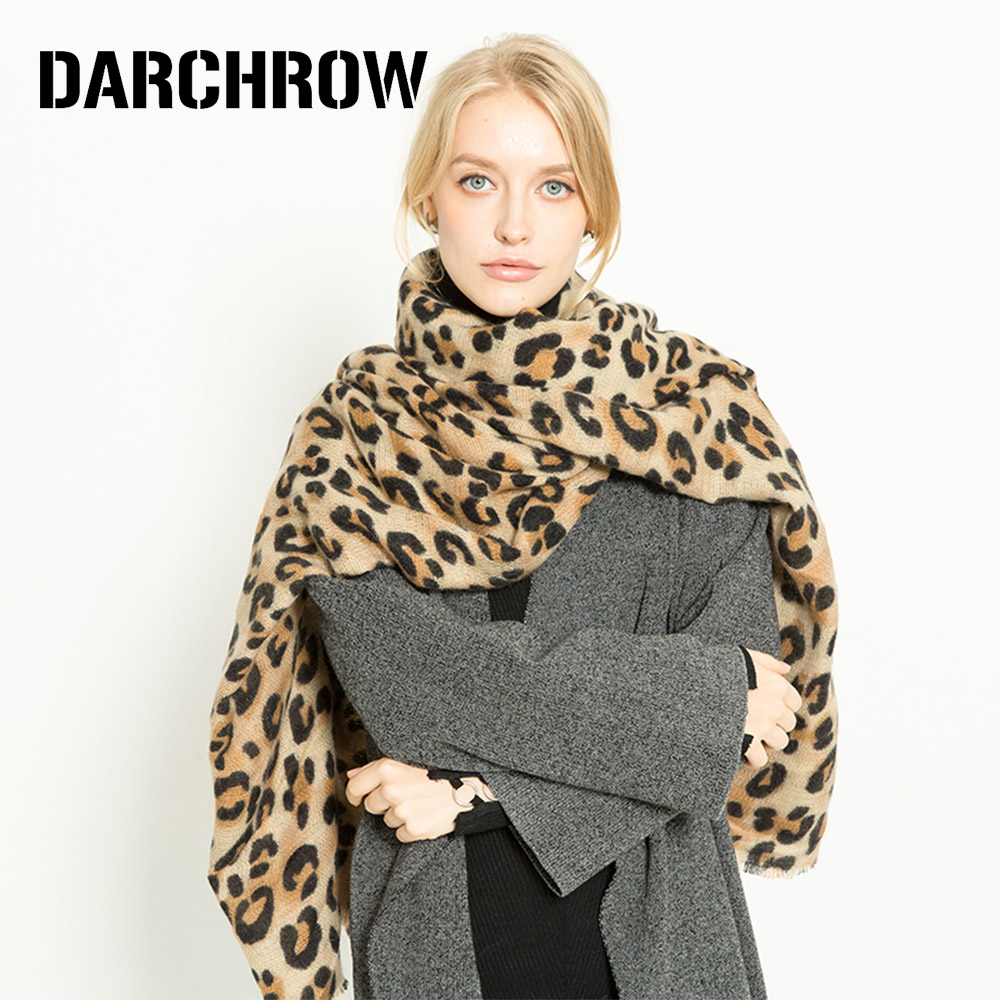 Image 2 - DARCHROW Leopard Printed Scarf Women Winter Blanket Scarf Warm Soft Cashmere Thicken Shawls Scarves for Women Lady-in Women's Scarves from Apparel Accessories