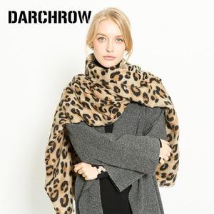 Image 1 - Darchrow leopardo impresso cachecol feminino inverno cobertor cachecol quente macio cashmere engrossar xales cachecóis para mulher senhora