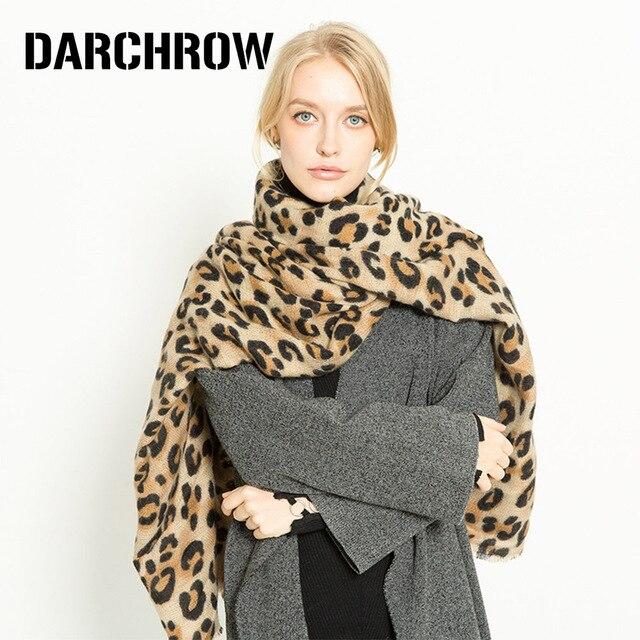 Darchrow leopardo impresso cachecol feminino inverno cobertor cachecol quente macio cashmere engrossar xales cachecóis para mulher senhora