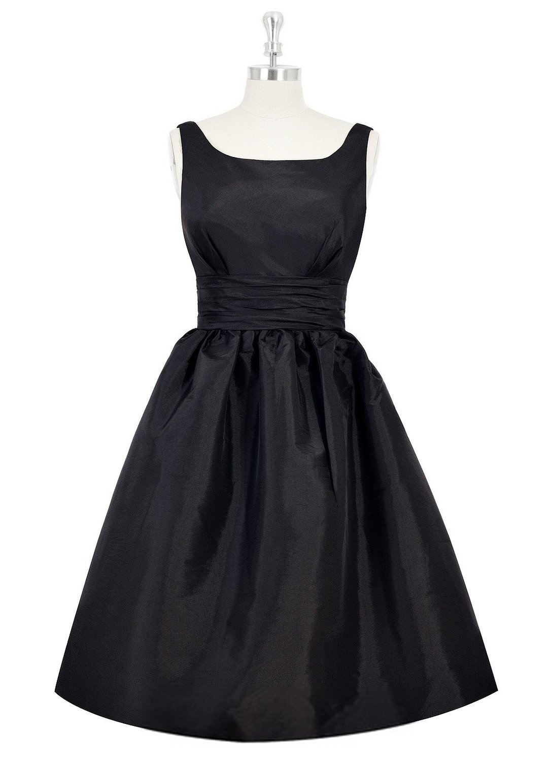 Women S Knee Length Satin Frock Scooped Back Swingy Black