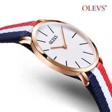 OLEVS  Women Watch Brand 2017 Fashion Watches Nylon Cloth Date Waterproof Anti-reflective Sapphire Quartz Wristwatches