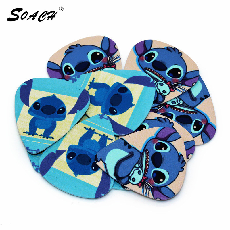 SOACH Hot 10pcs/Lot 0.71mm Thickness Bass Guitarra Strap Guitar Parts Blue Stitch New Quality Guitar Picks Guitar Accessories