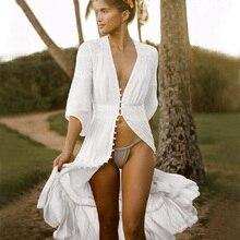 Cotton Beach Cover up Kaftan Sarong Bathing Suit Lace ups Pareo Swimsuit Womens SwimWear Tunic