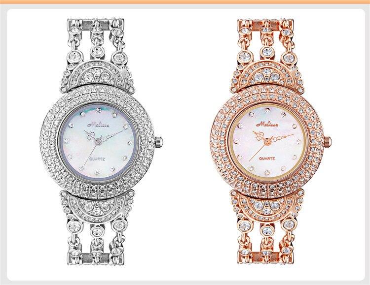 2017 ใหม่สไตล์ MELISSA สร้อยข้อมือนาฬิกา Tassels ผู้หญิง Party นาฬิกาข้อมือคริสตัล Reloj Montre Femme F6627-ใน นาฬิกาข้อมือสตรี จาก นาฬิกาข้อมือ บน   1