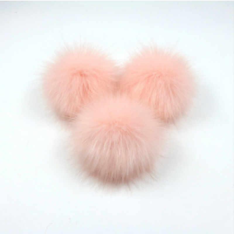 フェイクアライグマの毛皮ポンポンボールスナップと人工毛皮ポンポンポンポンためビーニー帽子バッグ靴キーホルダー