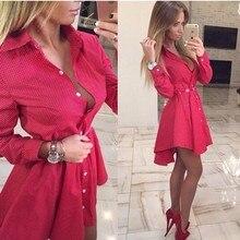 2016 New Women Autumn Fashion Small Dots Printed Shirt font b Dress b font Fall Casual