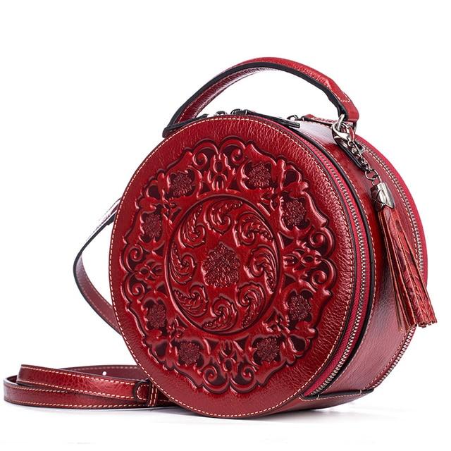 2e4ed26df2dd Women Tote Messenger Crossbody Circular Bags Embossed Chinese Style Tassel Handbag  Genuine Leather Shoulder Top Handle Bag New