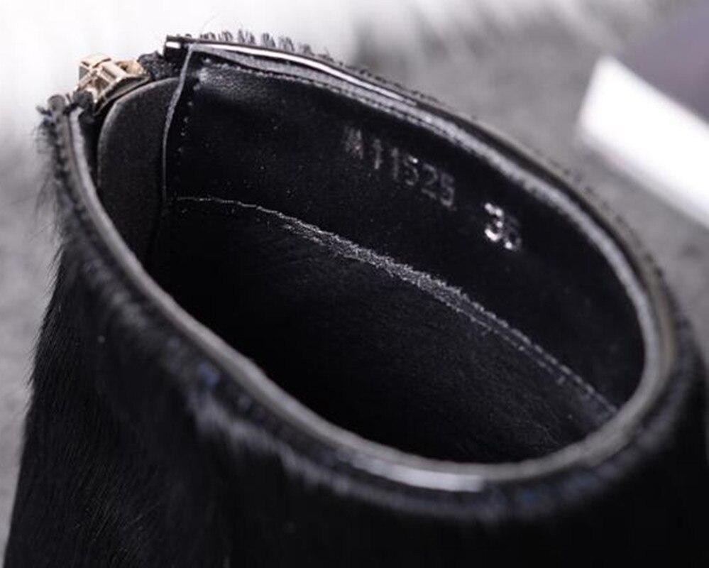short Botines Del Decoración Botas En Otoño Punta Metal Cremallera Corta 2018 invierno felpa Planas Nuevo Leather De Dedo Crin Inside Plush Inside Cuero Pie aInqz1PT