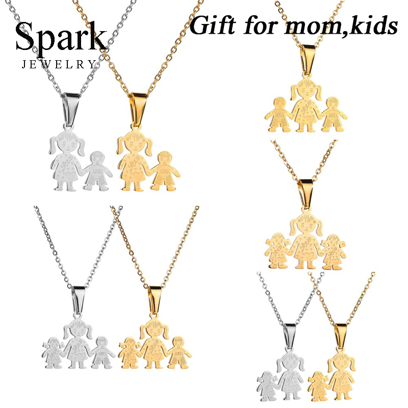 Lovely Stainless Steel Figure Pendant Necklace For Women With Mom Kids Engraved Love Family Necklace With Link Chain gift image