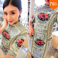 Summer beads Cloth embroidery vs internet celebrity Bodycon Jewelry Cloth Embroidery lace dress expensive plus size lady Clothes