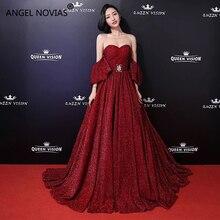 Angel Novias Long A Line Red Carpet Celebrity Dress 2018 Lace Up Floor Length Burgundy Evening Prom Dress