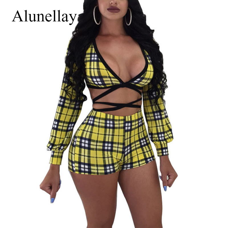 Alunelly Plaid bandage 2 Piece Set 2018 Summer Sexy Deep V- Neck Long sleeve Top And Mini Shorts Lace Up Skinny Casual Clubwears