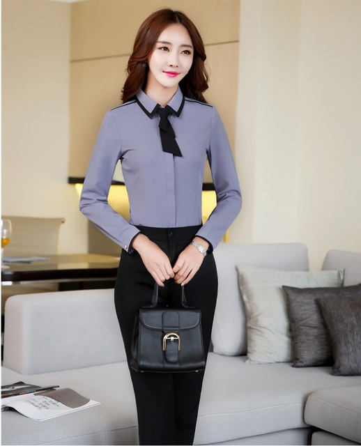 Two Piece Sets Women Business Suits with Pant and Blouses Sets Tops