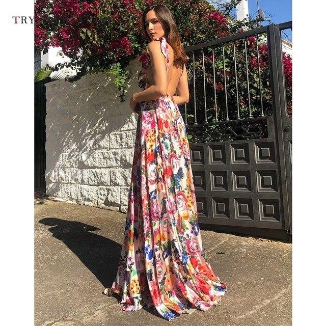 2b9fcd2da3a7 Colorido vestido Sexy para mujer fiesta noche piso largo Floral vestidos  largos sin espalda Maxi Vestido de playa verano 2019