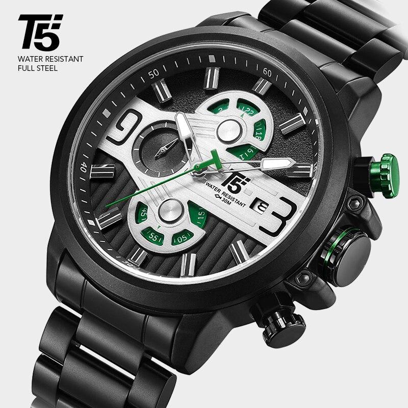 T5 Top Brand Luxury Rose Gold Black Quartz Chronograph Man Waterproof Sport Mens Watch Men Watches