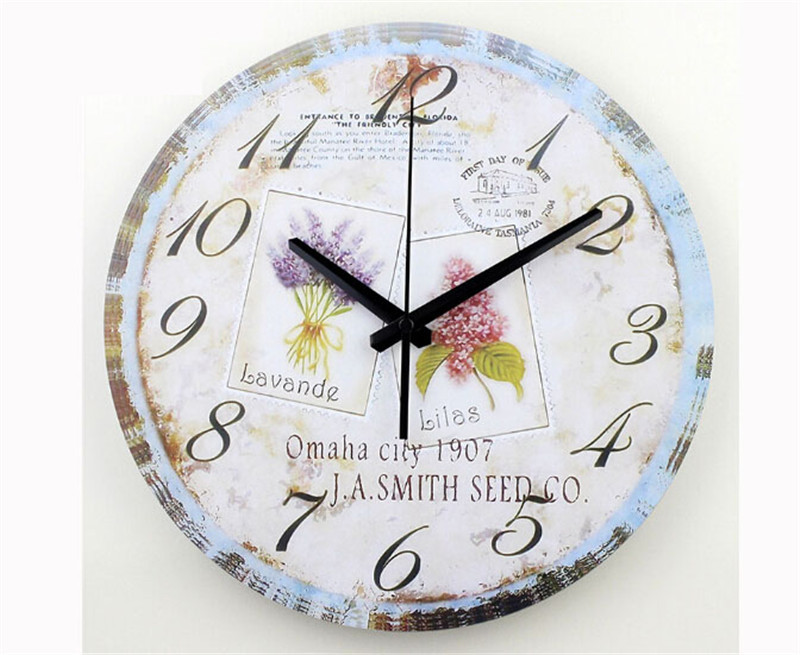 home decoration large wall clocks flower silent wall clock vintage home decor fashion big wall watches