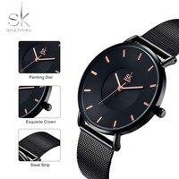 Shengke Fashion Black Women Watches 2017 High Quality Ultra thin Quartz Watch Woman Elegant Dress Ladies Watch Montre Femme SK 3