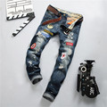 Men Brand Designer Repaired Distressed Paint Carpenter Jeans With Decorative Patches, Men Straight Slim Ripped Hole Denim Jeans