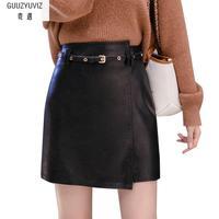 GUUZYUVIZ Plus Size Jupe Femme High Waist Solid Vintage Belt Pu Leather Skirts Womens Black Blue Apricot A line Short Skirt