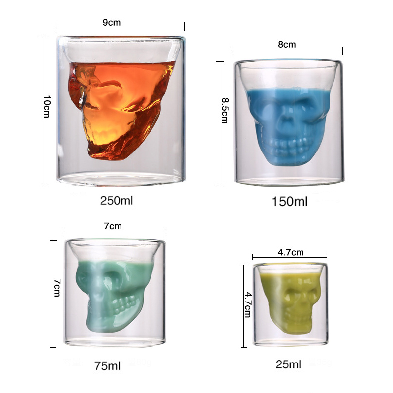 4pcs Set Skull Glass Cup Double Wall Crystal Skull Shot Glasses Cool Beer Cup For Wine Cocktail Vodka Home Halloween Party Bar Beer Steins Aliexpress