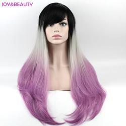 Радость и красоты волос Косплэй парик Ombre длинные кудрявый парик высокое Температура Волокно натуральный черный/серый/фиолетовый парик