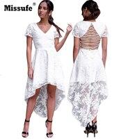 Missufe Elegant Floral Lace Embroidery Short Sleeve Dresses Sexy V Neck Backless Mermaid Slim White Vestidos