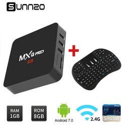 2018 Новый Smart tv Box Android 7,1 ТВ коробка Amlogic S905W четырехъядерный ГГц WiFi медиаплеер набор верхней коробки + беспроводная клавиатура
