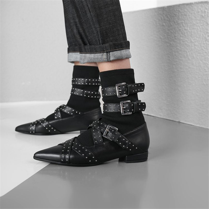 NAYIDUYUN     Women Shoes Black Genuine Leather Pointed Toe Low Heels Party Pumps Hi-Top Rivets Punk Oxfords Casual Shoes Buckle