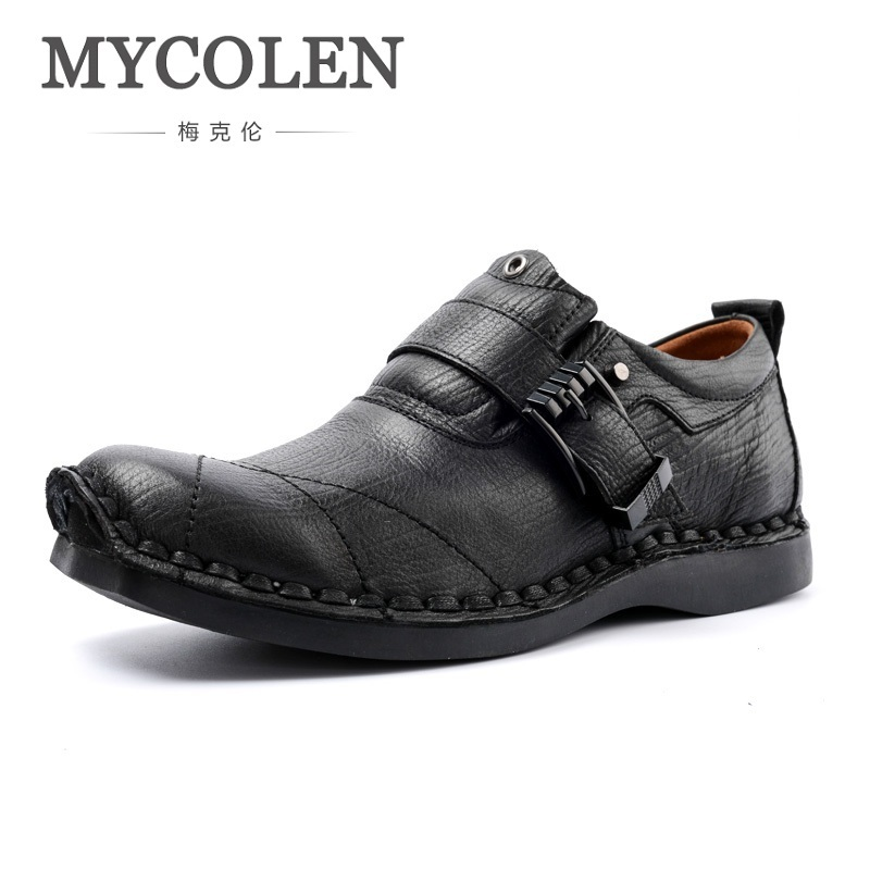 MYCOLEN Spring/Autumn Men's Shoes Slip On Handmade Genuine Leather Men Casual Shoes Fashion Designer Men Leather Shoes ege brand handmade genuine leather spring shoes lace up breathable men casual shoes new fashion designer red flat male shoes