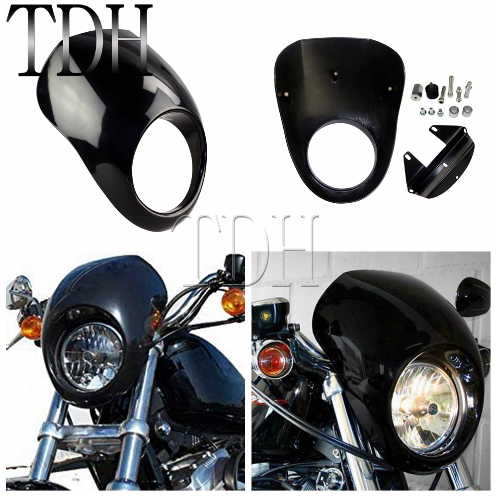 Motorcycle Headlight Mask Streetfighter Headlight Fairing Front Cowl Fork Mount For Harley Davidson Dyna Sportster FX XL harley davidson headlight price