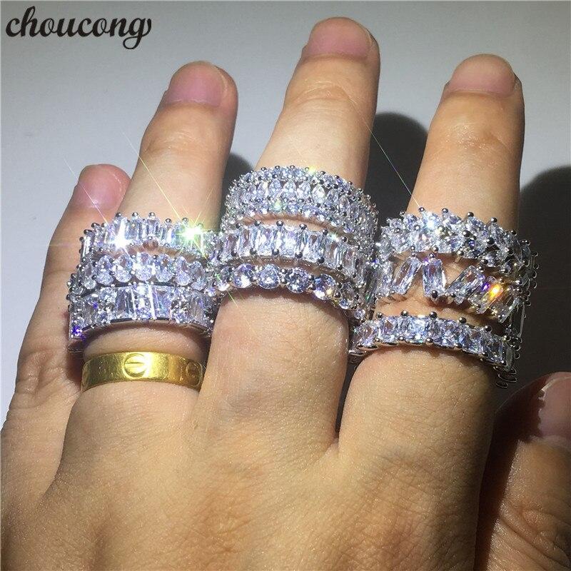 Choucong 9 Stili Promessa anello di Barretta 5A zircon Della Cz Dell'argento Sterlina 925 di Fidanzamento Wedding Band Anelli Per Le Donne Gli Uomini bijoux regalo