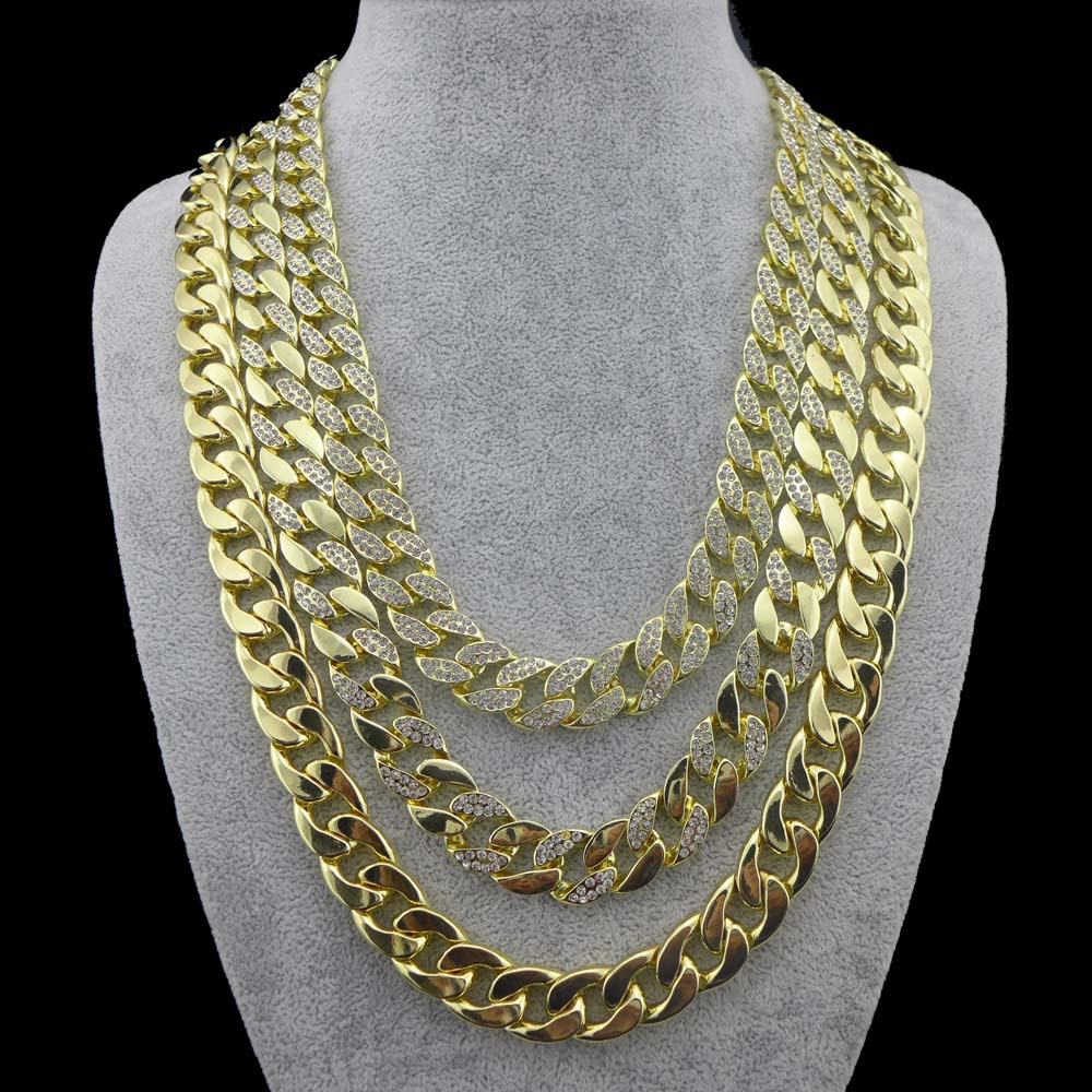 14mm 14K Gold Finish 2430 Mens Miami Cuban Link Necklace Chain