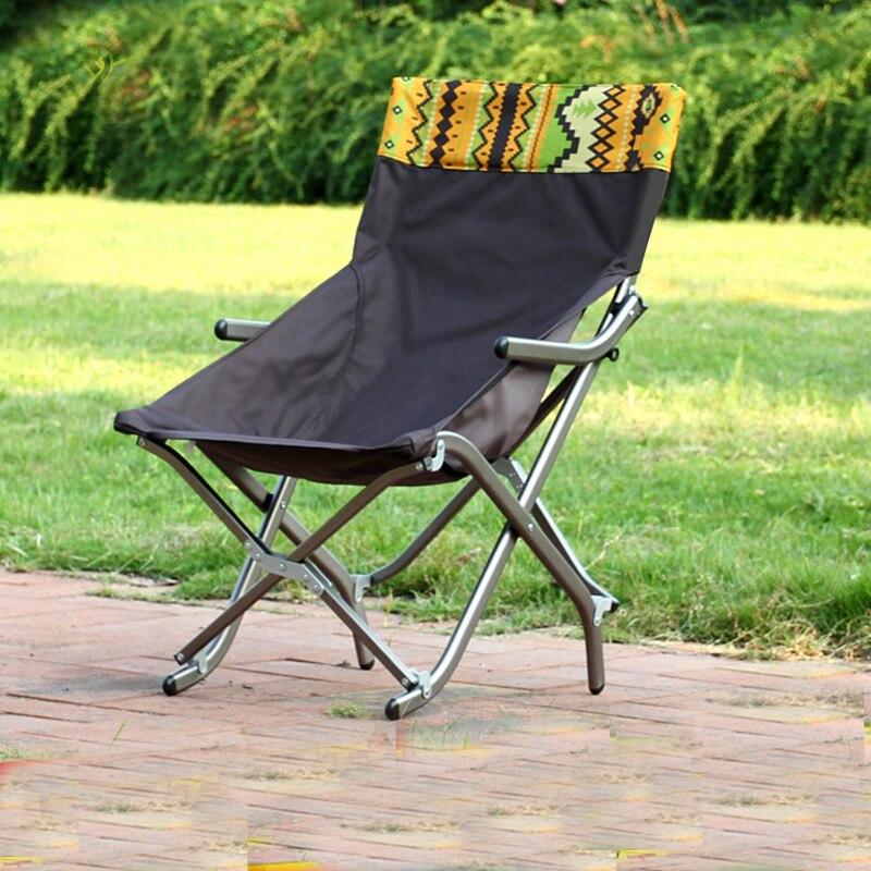 Outdoor ultra light aluminum folding chair Household portable lunch break recliner fishing chair bearing 100 120kgs