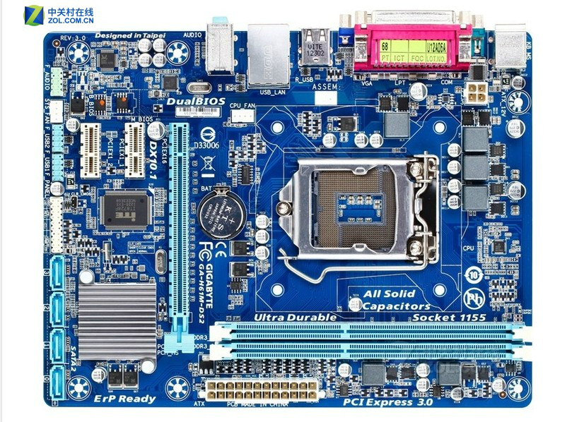 Livraison gratuite origine carte mère pour gigabyte ga-h61m-ds2 lga 1155 ddr3 h61m-ds2 16 gb soutien i3 i5 i7 h61 carte mère de bureau