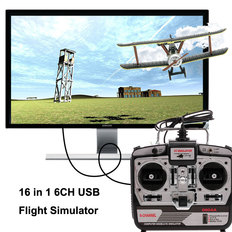 RC helicopter 16 in 1 6CH USB Flight Simulator Emulator for RC Helicopter Airplane FPV Racing