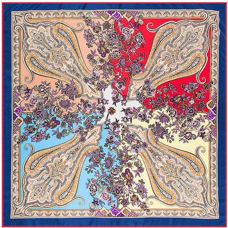 100% Silk   Scarf   Women Patchworik Color Muslim Cash Print Square   Scarves     Wraps   Neckerchief Female Foulard Silk Hijab Lady Bandana