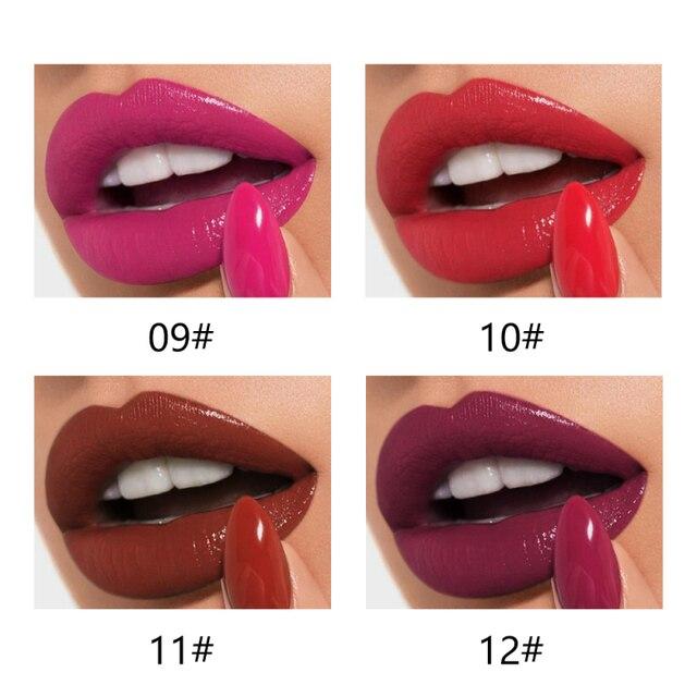 Pudaier 12 컬러 매트 립 글로스 여성용 립 메이크업 매트 립스틱 롱 라스팅 메이크업 화장품 메이크업 립글로스 tslm2