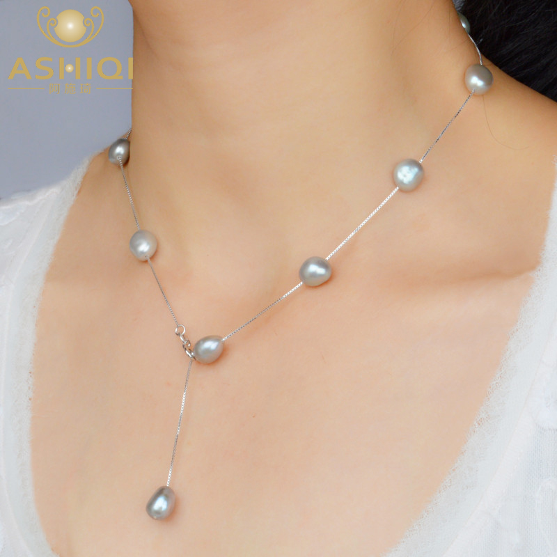ASHIQI Real S925 Sterling Silver Natural Freshwater Pearl Pendant Necklace Gray White 8-9mm Baroque Pearl Jewelry For Women