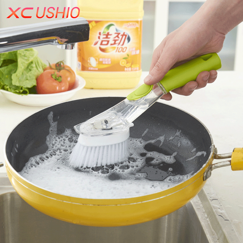 2 In 1 Long Handle Kitchen Cleaning Brush Replaceable Cleaning Sponge Tableware Scouring Pad