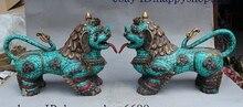 13 «Старый Тибет Королевский Дворец Бирюзовый Зверь Единорог Foo Фу Собака Лев Статуя Пара