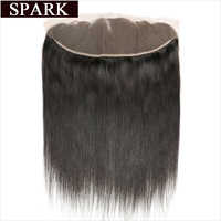 Spark Peruvian Straight Hair Weaving 13x4 Lace Frontal Closure Can Make Baby Hair Ombre Human Hair Remy Lace Closure 10-20inch