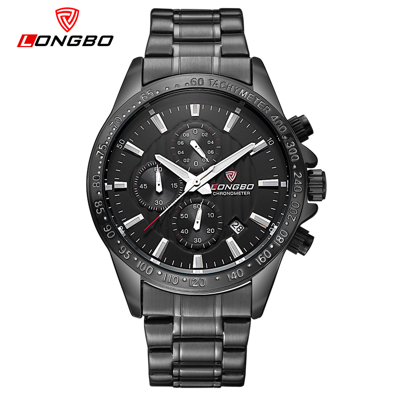 LONGBO Luxury Auto Date Stainless Steel Watch Men Sports Military Quartz Watches Waterproof Wristwatch Relogio Masculino